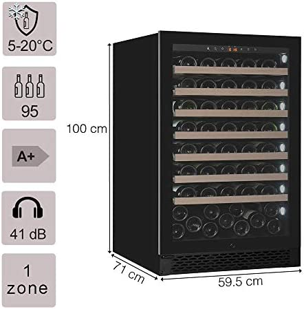 Pevino wine fridge for 95 bottles | Premium Wine Cooler with one zone | Temperature range at 5-20°C | Eco friendly Wine Fridges with Energy class A | Wine fridge suitable for built-in[Clase de eficiencia energética A+]
