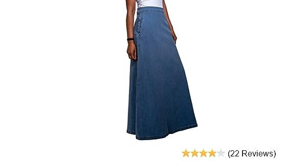 3d8ba44ceb Lottie Long Denim Skirt - Palewash Maxi Jean Skirt with Stretch US 10-20  Blue at Amazon Women's Clothing store:
