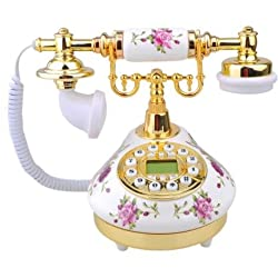 Retro Vintage Antique Style Floral Ceramic Decoration Crafts Desk Telephone Phone with real telephone function home decor