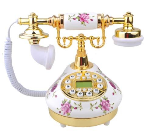 Retro Vintage Antique Style Floral Ceramic Decoration Crafts Desk Telephone Phone with real telephone function home - Bans Ray Floral