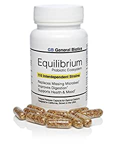 Equilibrium Probiotic Supplement with Prebiotic – Daily Time Release – 30 Easy To Swallow Capsules – Highest Strain Count In The World – 115-Strains