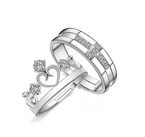 Crown Adjustable Ring (Edress Princess Queen Crown Rings for Women Heart Cubic Zirconia CZ Inlaid Wedding Band Engagement Set (men))