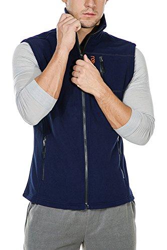 Nonwe Men's Fleece Vest Front Zip Fleece Solid Vests Blue M ()