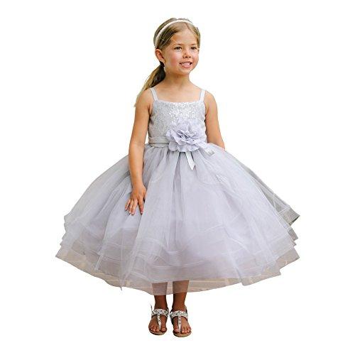 Little Girls Gray Sequin Horse Hair Hemline Bolero Flower Girl Dress 6 (Kids Top Tip Dresses)