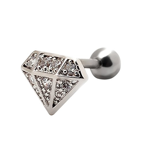 Diamond shaped Cartilage Earrings Barbell Piercings