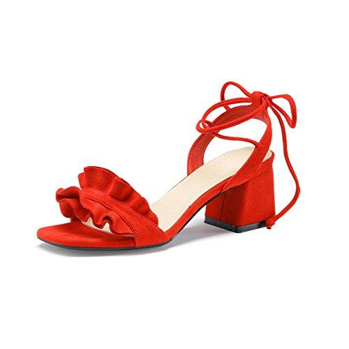Gamuza Zapatos Sandalias Hilo Abierto Vendaje Red Tacones Pie Altos del Dedo Mujer Digno Atractivo De Único nR0XxXrwq4