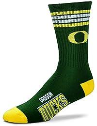 NCAA 4 Stripe Deuce Socks - Men's Large (fits 10-13) (Oregon Ducks)