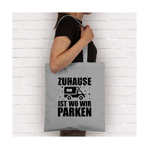 419zkzXeVAL Shirtracer - Hobby Outfit - Zuhause ist wo wir parken - schwarz - Stoffbeutel aus Baumwolle Jutebeutel lange Henkel