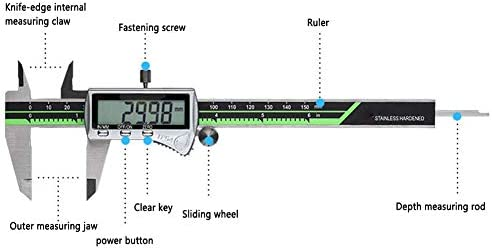 Digital Vernier Caliper, 200Mm 0-8Inch Vernier Caliper with Large LCD Screen, Inch, Fractions and Millimeter Conversion Measuring Tool, for Industry Household