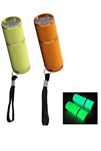Glow in the Dark (Orange & Yellow) Water Resistant Rubber Coated Body Super Bright 9 LED Flashlight (Pack of 2)