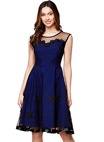 Miusol Women's Elegant Illusion Floral Lace Cap Sleeve Bridesmaid Prom Dress (X-Large, Navy Blue)
