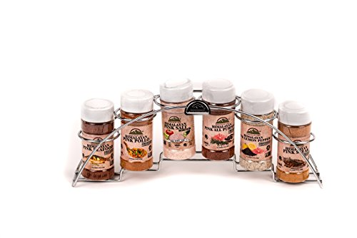 Himalayan Chef 6 Piece Himalayan Pink Salt and Seasoning glass Shaker With Standing Chrome Rack by Himalayan Chef