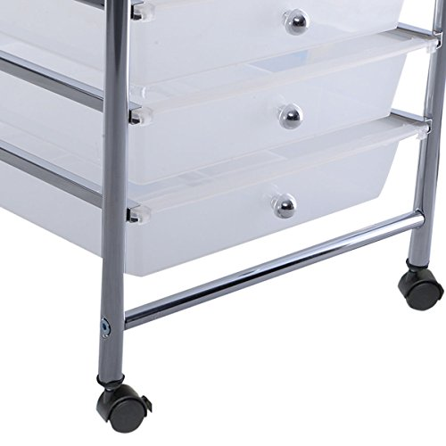 10 Drawer Rolling Storage Cart Scrapbook Paper Office School Organizer Clear by Happybeamy (Image #3)
