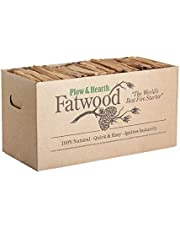 Plow & Hearth Boxed Fatwood Fire Starter All Natural Organic Resin Rich Eco Friendly Kindling Sticks for Wood Stoves Fireplaces Campfires Fire Pits Burns Quickly and Easily Safe Non Toxic