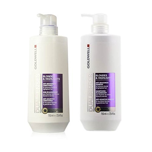 Goldwell Dual Senses Blondes and Highlights Conditioner and Shampoo Liter Duo (Best Purple Shampoo For Blonde Color Treated Hair)