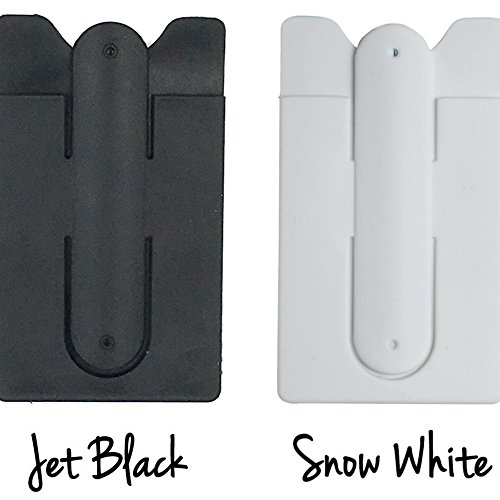 Buy cheap 2-in-1 Silicone Stick-on Credit Card ID Holder with Built-in Kickstand Adheres to Back of Cell Phone or Case fits all flat backed phones & cases, Wallet Card Holder, Money Clip (2-Pack, Black&White)