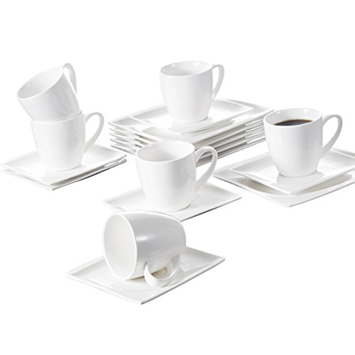 Malacasa 18 Pieces Porcelain Dessert Plates Cups with Saucers, 7.25 Inch Snack Plate Cappuccino 7 Ounce Cups with 5.5 Inch Saucer Coffee Drinks, Cafe Mocha and Tea - Set of 6, White - Monica