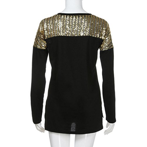 Easytoy Women Casual Long Sleeve Sequined Stitching Pocket Irregular Tops Blouse (Black, L) by Easytoy (Image #5)
