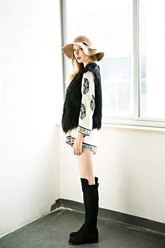 Glamorous neck Fashion Giacca Outerwear Invernali Nero Donna Cappotto Eleganti Hot Autunno Canottiera Sintetica V Di Puro Semplice Colore Gilet Pelliccia Smanicato C7xXvq