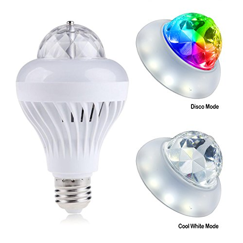 (Delightime 2-in-1 LED Disco Party Light - Auto Rotating and Amazing Disco Ball Effects - Intelligent Changing Modes - Superb Performance and Easy Installation - Perfect for Dancing and Home Party)