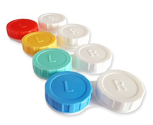 Coloured Contact Lenses Uk (Dental Aesthetics UK 4 X Contact Lens Cases Colour Coded L&R Soaking Storage Cases (Classic) - Red)