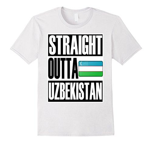 Men's Storecastle Straight Outta Uzbekistan Pride Flag T-Shirt 2XL White