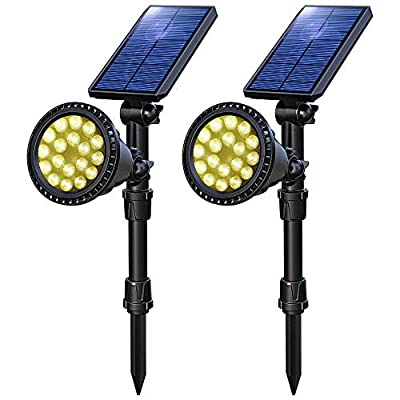 OSORD Solar Lights Outdoor 18 LED Multicolor Solar Garden Light,5-in-1 Waterproof Landscape Lighting Spotlight Wall Light Auto On/Off for Yard Garden Pathway Patio Lawn 2 Pack