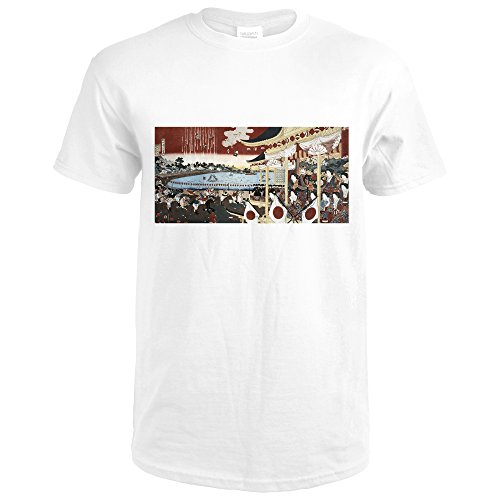 Horse Race In Ueno Park Japanese Wood-Cut Print (Premium White T-Shirt - Races Sign Wood