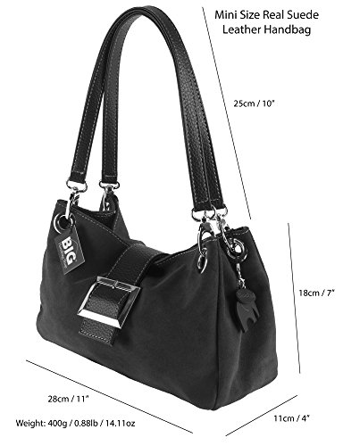 PIXIE Black Faux with Blue Real Leather Suede Lining Trim Cotton Z Clearance Bag Trim Italian Navy Small LIATALIA PwHa0