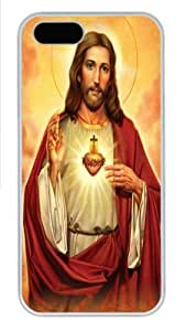 Sacred Heart Jesus PC Case Cover for iPhone 5 and iPhone 5s White