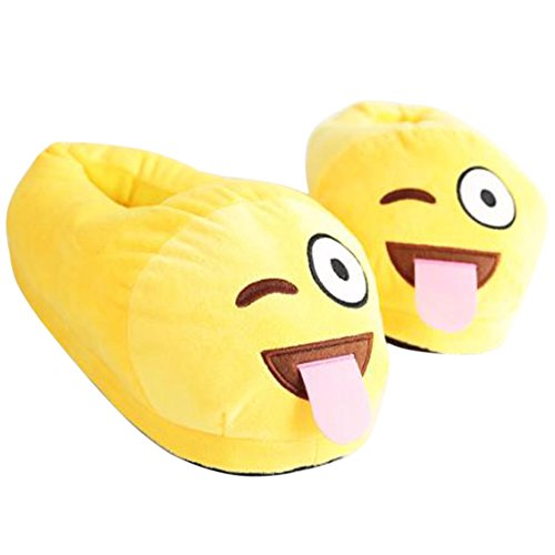 Unisex Emoji Zapatillas lindas de dibujos animados Calientes zapatillas Rellenado divertido Antideslizantes Zapatillas Hogar Interior (un tamaño) Lengua
