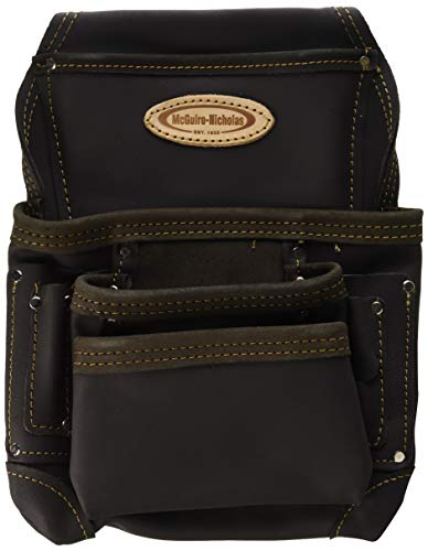 McGuire-Nicholas 870-CC 10 Pocket Nail and Tool Pouch Oil Tanned Leather, Tan - Leather Nicholas
