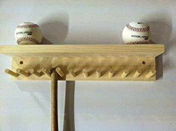 Baseball Bat Rack And Ball Holder Display Natural Finish Meant To Hold Up  To 11 Mini