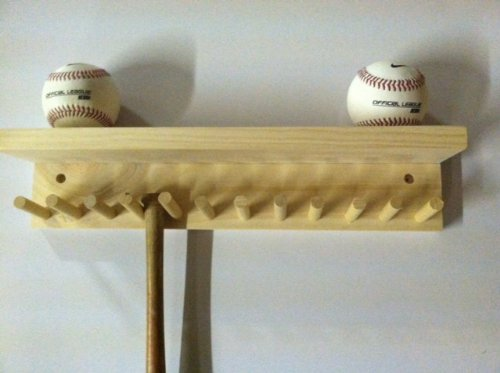 Baseball Bat Rack and Ball Holder Display Natural Finish Meant to Hold up to 11 Mini Collectible Bats and 4 Baseballs