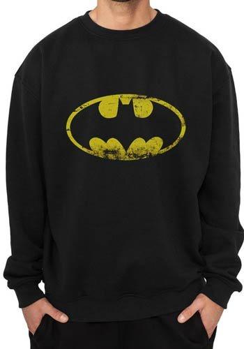 Crewneck Sweatshirt: Batman - Distressed Logo Rundhals-Sweatshirt - Schwarz