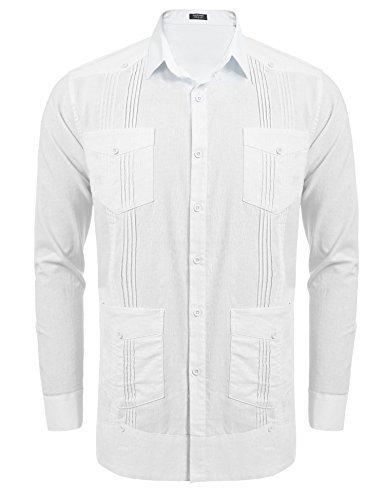 COOFANDY Mens Long-Sleeve Guayabera Cuban Shirt Casual Button Down Shirt,White,X-Large