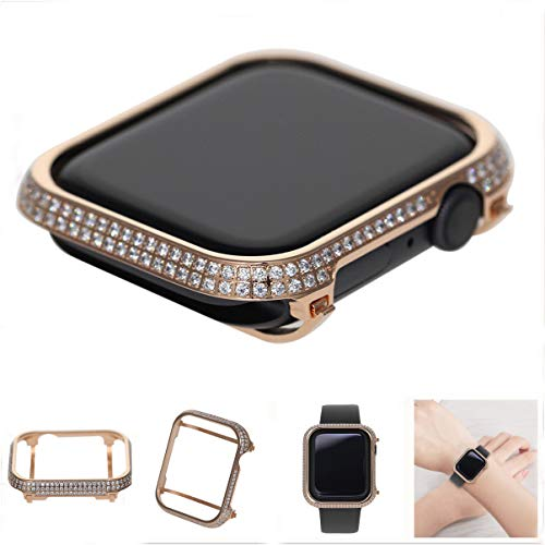 HJIN Luxury Bling Rhinestone Diamond Bezel Crystal case Handwork Inlaid Compatible Apple Watch Series 4 44mm 40mm (Rose Gold, 40mm)