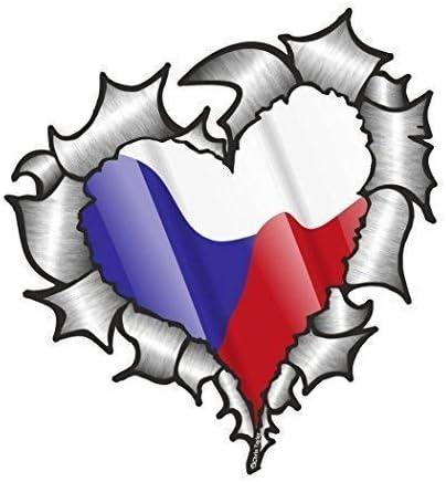 En Forma de Corazón Rasgado Metálico República Checa Bandera para Equipo de Fútbol Soporte Match Pegatina Vinilo Coche 105x100mm