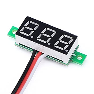 "DROK 0.28"" LED Display Ultra-small DC Digital 0-100V Voltmeter Battery Voltage Tester Car Motorcycle Panel Meter 3.0-30 Power Volt Detector Gauge"