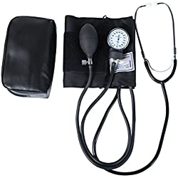 HealthSmart Manual Home Blood Pressure Monitor with Large Adult Cuff and Stethoscope, Cuff Size: 13 to 17 inches, Black