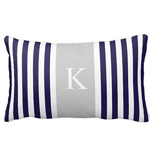 Navy Blue Grey Stripes Monogram Throw Pillows Pillow 50% Cotton 50% Polyester 20 x 30 inches Pillowcase
