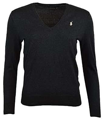 POLO RALPH LAUREN Womens Pima Cotton V-Neck Sweater (XS, GreyHth)
