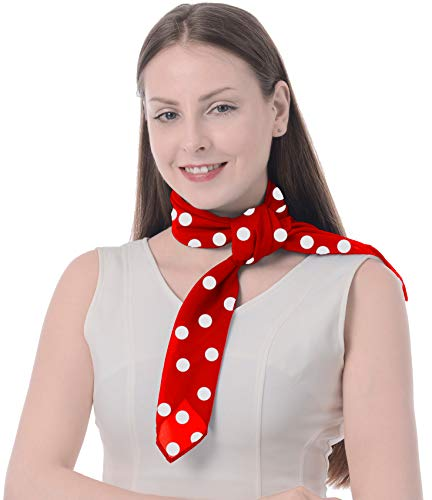 Athena YY Red White Polka Dot Scarf Sheer