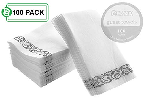 Buffet Turquoise Plate - Party Bargains Disposable Linen-Feel Paper Guest Towels | Durable & Decorative Cloth-Like Soft Bathroom Hand Napkins for Dinner, Wedding or Cocktail Party | White & Silver 100 Count
