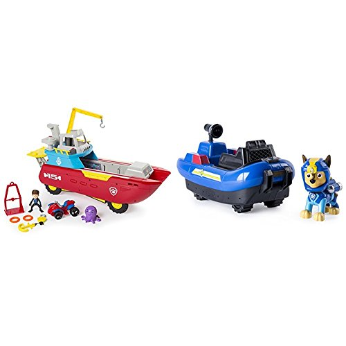 ller Transforming Vehicle with Lights and Sounds with Paw Patrol Chase's Transforming Sea Patrol Vehicle Bundle ()