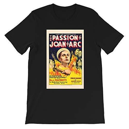 Passion of Joan of Arc 1928 Carl Theodor Dreyer Falconetti Movie Cinema Gift Mens Womens Unisex T-Shirt (Black-S) (The Passion Of Joan Of Arc 1928)