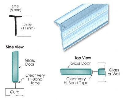 "CRL Translucent Shower Door Vinyl ""T"" Seal and Sweep for 7/16"" Maximum Gap - 31 in long"