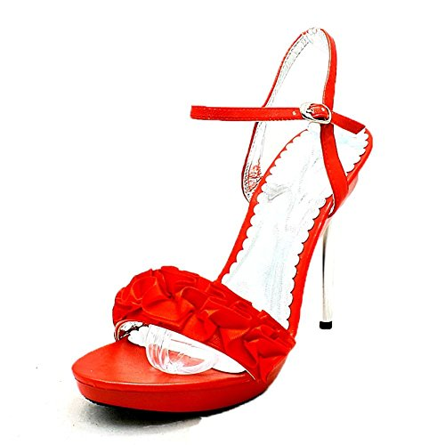 SendIt4Me Zapato de Tacón Alto/Sandalias con Tacón Plateado Para Mujer Red