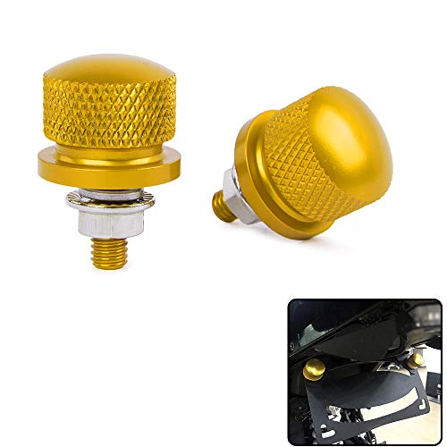 XX eCommerce Motorcycle Motorbike 1pair Universal M6 License Plate Frame Bolt Refit Screw Nut Caps Knurled ATV Dirt Bike Crusier (Gold)