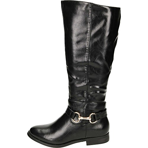 JWF Flat Leather Style Knee Buckle Strap Boots Black GFdwwG